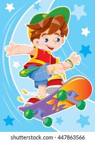 Happy boy riding a skateboard