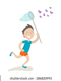 Happy boy is running with butterfly net and catching butterflies. Flat design. Vector illustration. Isolated on white background.