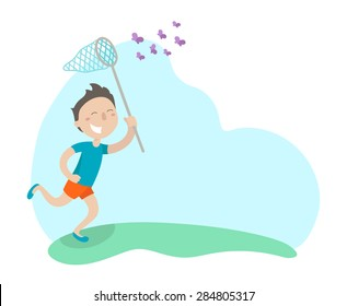 Happy boy is running in a meadow with butterfly net and catching butterflies. Flat design. Vector illustration. Isolated on white background.