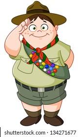 Happy Boy Scout saluting