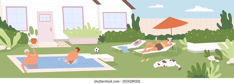 Happy boy spending summer holidays together with his grandparents in backyard of house. Grandson and grandpa swimming in pool, grandma sunbathing outdoors. Colored flat cartoon vector illustration