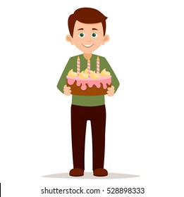 happy boy standing right and holding a Birthday  big sweet cake with candles vector illustration isolated on white background.