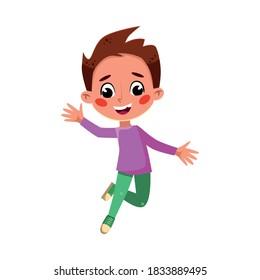 Happy Boy umping, Cute Preschool Kid Having Fun, Celebrating Holiday, Doing Sports Cartoon Style Vector Illustration