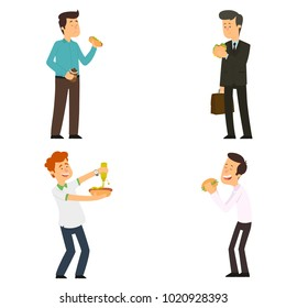 Happy boys eating a big hamburger. satisfied people eat fast food. vector