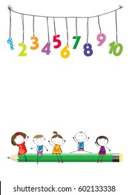Happy boys and girls with colorful numbers and crayon