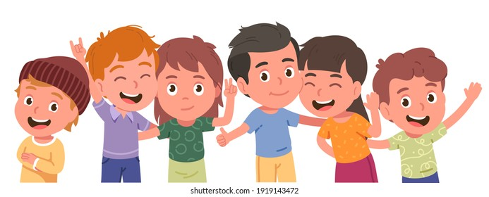 Happy boys, girls kids friends persons group portrait. Children characters standing together smiling, embracing, posing, waving hands, showing gestures. Childhood friendship flat vector illustration