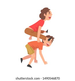 Happy Boys Playing Together, Naughty Kids Having Fun, Fighting Children, Bad Child Behavior Vector Illustration