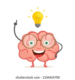Happy brain cartoon character with idea. Vector illustration isolated on white background. EPS 10.