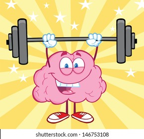 Happy Brain Cartoon Character Lifting Weights