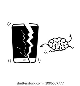 Happy brain without technology. Vector concept illustration of freed brain escaping out of the broken smartphone | flat design linear infographic icon black on white background