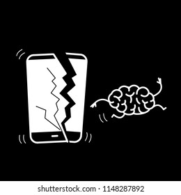 Happy brain without technology. Vector concept illustration of freed brain escaping out of the broken smartphone | flat design linear infographic icon white on black background