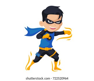 Happy Brave Boy Wearing A Superhero Costume In Isolated Background Cartoon Illustration