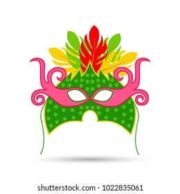 Happy Brazilian Carnival. Carnival Colorful mask on white background