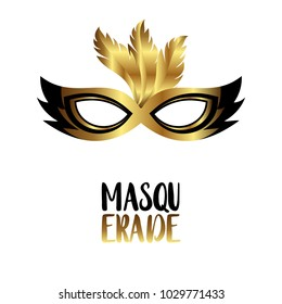 Happy Brazilian Carnival Day. Black and Golden Elgant Carnival mask and typograhy with golden feathers on white background