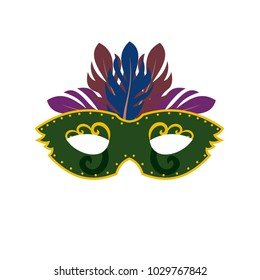 Happy Brazilian Carnival Day. Green carnival mask with colorful feathers on white background