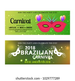 Happy Brazilian Carnival Day. green color carnival banners with typographies, sample text and masks