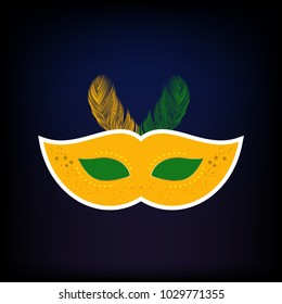 Happy Brazilian Carnival Day. Yellow carnival mask with white storke and yellow and green feathers on blue background