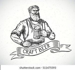 Happy brewer or craftsman's characters holding a mug full of beer, in engraving style.