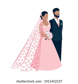Happy bride and groom get married. Flat vector illustration of lovers bride in lace flower veil and groom in classic black suit. Isolated over white background.