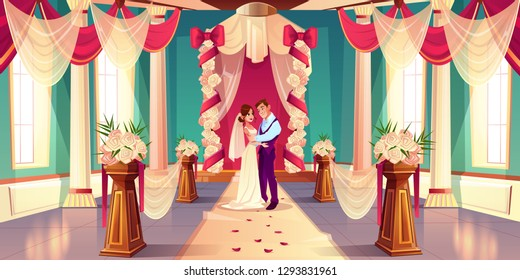 Happy bride and groom hugging, looking in each other eyes while standing together under wedding arch in decorated flowers ballroom in castle cartoon vector illustration. Newlyweds on wedding ceremony