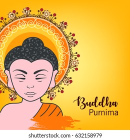 Happy Buddha Purnima design based on religious Background.