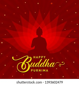 Happy Buddha Purnima poster, logo, banner, background with Buddha and Lotus petals on dark brown background vector design - Vector, illustrator