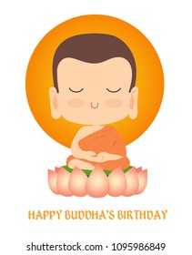 Happy Buddha's Birthday. Cute Buddha vector cartoon illustration with white background.