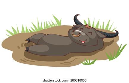 happy buffalo take a bath in mud vector illustration