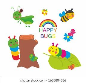 Happy bugs: cute grasshopper, rainbow caterpillar, funny bee. Illustration, vector.