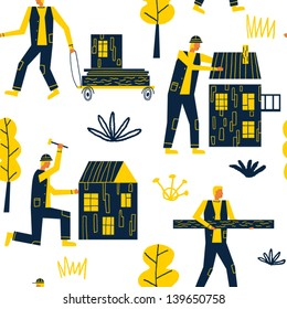 happy builders and new houses vector seamless pattern