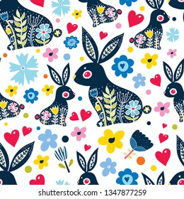 Happy bunnies, spring and flowers. Vector seamless pattern. Can be used for wallpaper, pattern fills, web page background,textile, postcards.