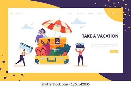 Happy Business Characters Pack for Vacation Landing Page. Office Workers Moving to Beach Travel Holding Camera and Plane Ticket Concept for Website or Web Page. Flat Cartoon Vector Illustration