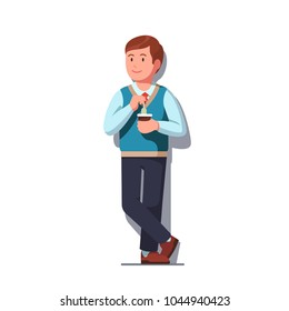 Happy business clerk standing leaning against wall and making tea dipping teabag into disposable cup, having work break. Happily smiling business man in sweater and necktie. Flat vector illustration
