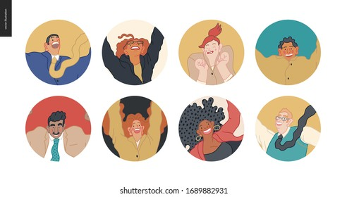 Happy business employee man and woman avatars jumping in the air cheerfully. Modern flat vector concept illustration of a happy jumping office workers userpics. Feeling and emotion concept.