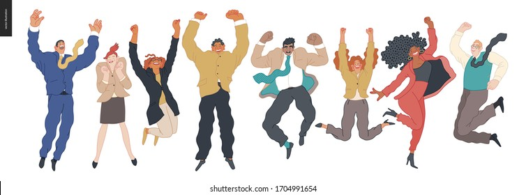 Happy business employees - group of men and women jumping in the air cheerfully. Modern flat vector concept illustration of a happy jumping office workers. Feeling and emotion concept.