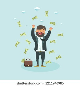 Happy business man catching falling money. Lottery winner concept. Vector illustration