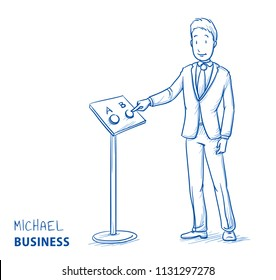 Happy business man, customer, client or citizen, voting for something, giving his choice.  Hand drawn line art cartoon vector illustration