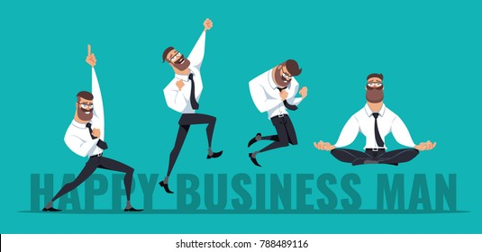 Happy Business Man in different poses. Vector illustration isolated on blue background.