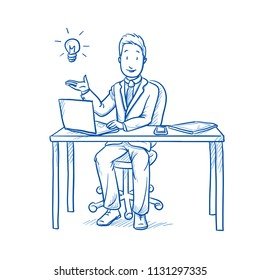 Happy business man, employee at his desk with laptop, tablet and smart phone holding hand with light bulb. Concept for idea.  Hand drawn line art cartoon vector illustration
