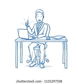 Happy business man, employee at his desk with laptop, tablet showing thumb up, looking satisfied.  Hand drawn line art cartoon vector illustration