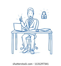 Happy business man, employee at his desk with laptop, tablet looking confident with secure data, closed lock icon.  Hand drawn line art cartoon vector illustration