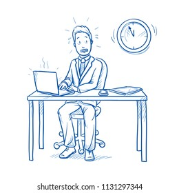 Happy business man, employee at his desk with laptop, tablet and smart phone, looking stressed, in panic due to lack of time.  Hand drawn line art cartoon vector illustration