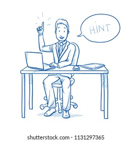 Happy business man, employee at his desk with laptop, tablet pointing with his finger up.  Hand drawn line art cartoon vector illustration