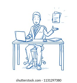 Happy business man, employee at his desk with laptop, tablet raising hand with file or document icon.  Hand drawn line art cartoon vector illustration