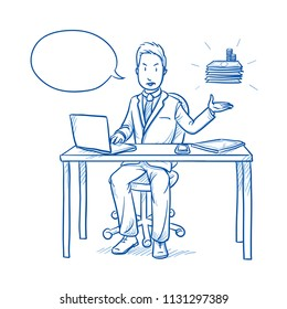 Happy business man, employee at his desk with laptop, tablet looking annoyed because of high costs, tax or money loss.  Hand drawn line art cartoon vector illustration