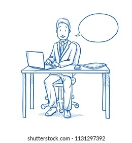 Happy business man, employee at his desk with laptop, tablet looking confident and talking with speech bubble.  Hand drawn line art cartoon vector illustration