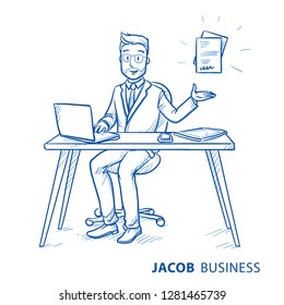 Happy business man, employee at his desk with laptop, presenting file or document icon. Concept for recieving contract, insurance or job. Hand drawn line art cartoon vector illustration