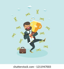 Happy business man jumping under money rain with Golden Trophy Cup. Vector illustration
