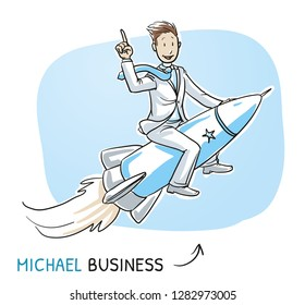 Happy business man riding on a fast rocket. Concept for success, winner, pioneer, innovation. Hand drawn cartoon sketch vector illustration, whiteboard marker style coloring.