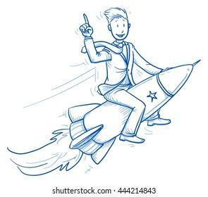 Happy business man riding on a fast rocket. Concept for winner, pioneer, innovation. Hand drawn line art cartoon vector illustration.